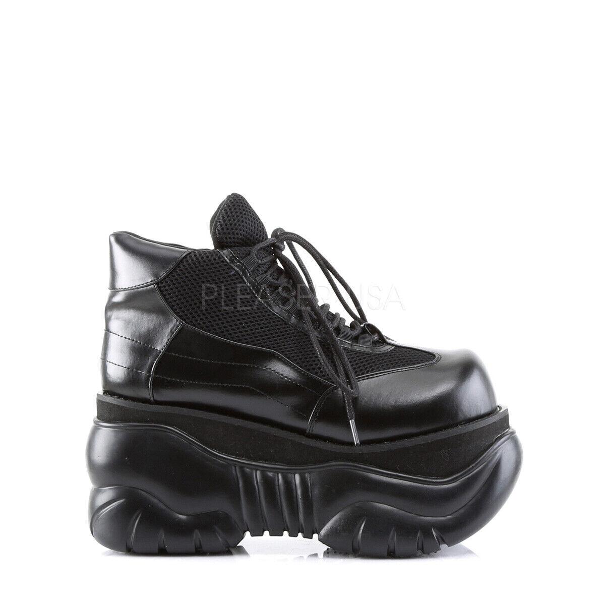 PLEASER Demonia Boxer-01 4  PF Cyber Zapatillas Zapatos Con Cordones De Cuero vegano