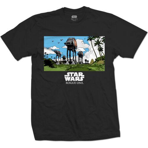 Star Wars Mens Black T-Shirt Rogue One AT-AT March