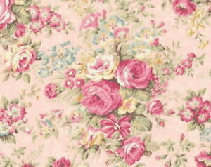 Cottage Shabby Chic Quilt Gate Classic Library Floral Roses Pale Pink RU2400-12D