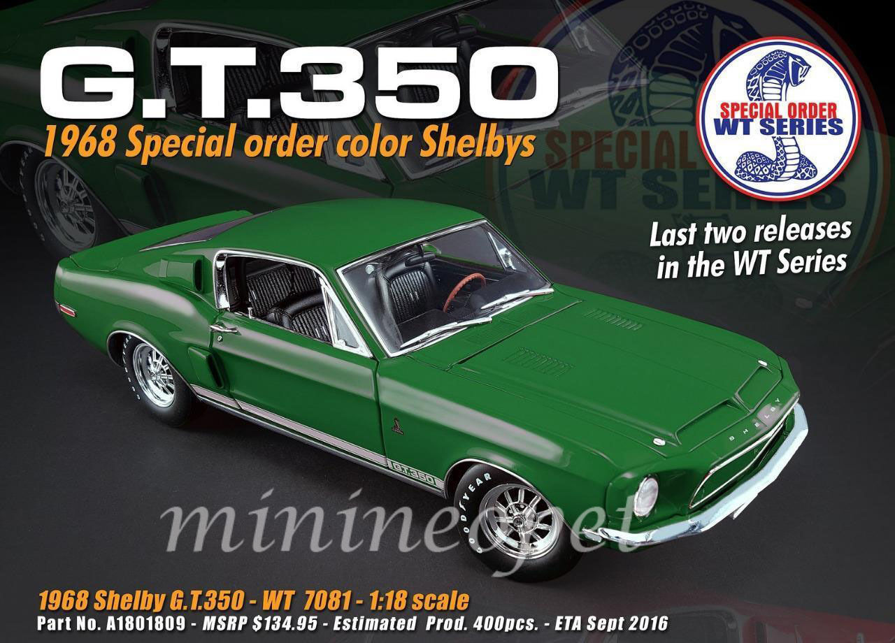 ACME A1801809 1968 Ford Shelby Mustang GT 350 WT code couleur 7081 Release  5 1 18