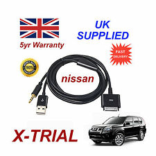 For Nissan X TRAIL iPhone iPod USB & Aux Cable replacement (Black)
