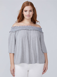 New 14 16 18 20 22 24 26 28 ~ SMOCKED Off-The-Shoulder Top LANE BRYANT ~ NWT