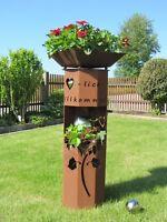 8Eck Säule Rost Sonnenblume Edelrost Metall Gartendeko Stele Rost Deko Rostsäule