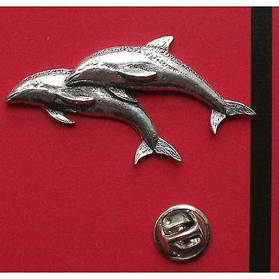 English Pewter DOLPHIN Pin Badge Tie Pin / Lapel Badge  (ref A38)