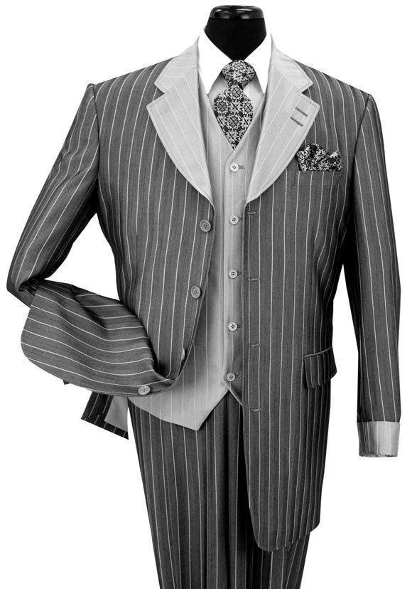 Uomo 3 Piece Classic Gangster Pinstripe Pinstripe Gangster Wool Feel Suit w/Vest-2911V d74b9e