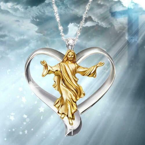 God Jesus Cross Silver White Topaz Necklace Gold Filled Pendant Chain Choke Favo