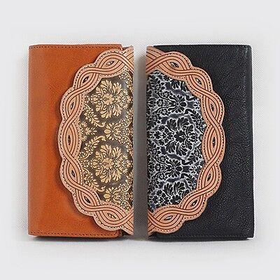 Vintage Genuine Leather Wallet Women Clutch Handbag Cash Clip ID Card Holder