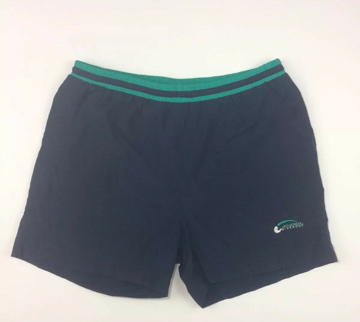 Vintage Givenchy Activewear Mens XL Shorts Swim Trunks Navy Turquoise