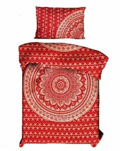 Details About Red Gold Mandala Twin Duvet Cover With Pillows Bedcover Textile Cotton Beautiful
