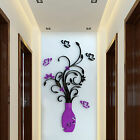 3D Vase Flower Tree Plastic Wall Sticker Home Room TV Decor Vinyl Decal Mural