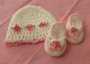 Image is loading Handmade-Crochet-Baby-Girl-Booties-Hat-Pink-amp- 056b7367ac4