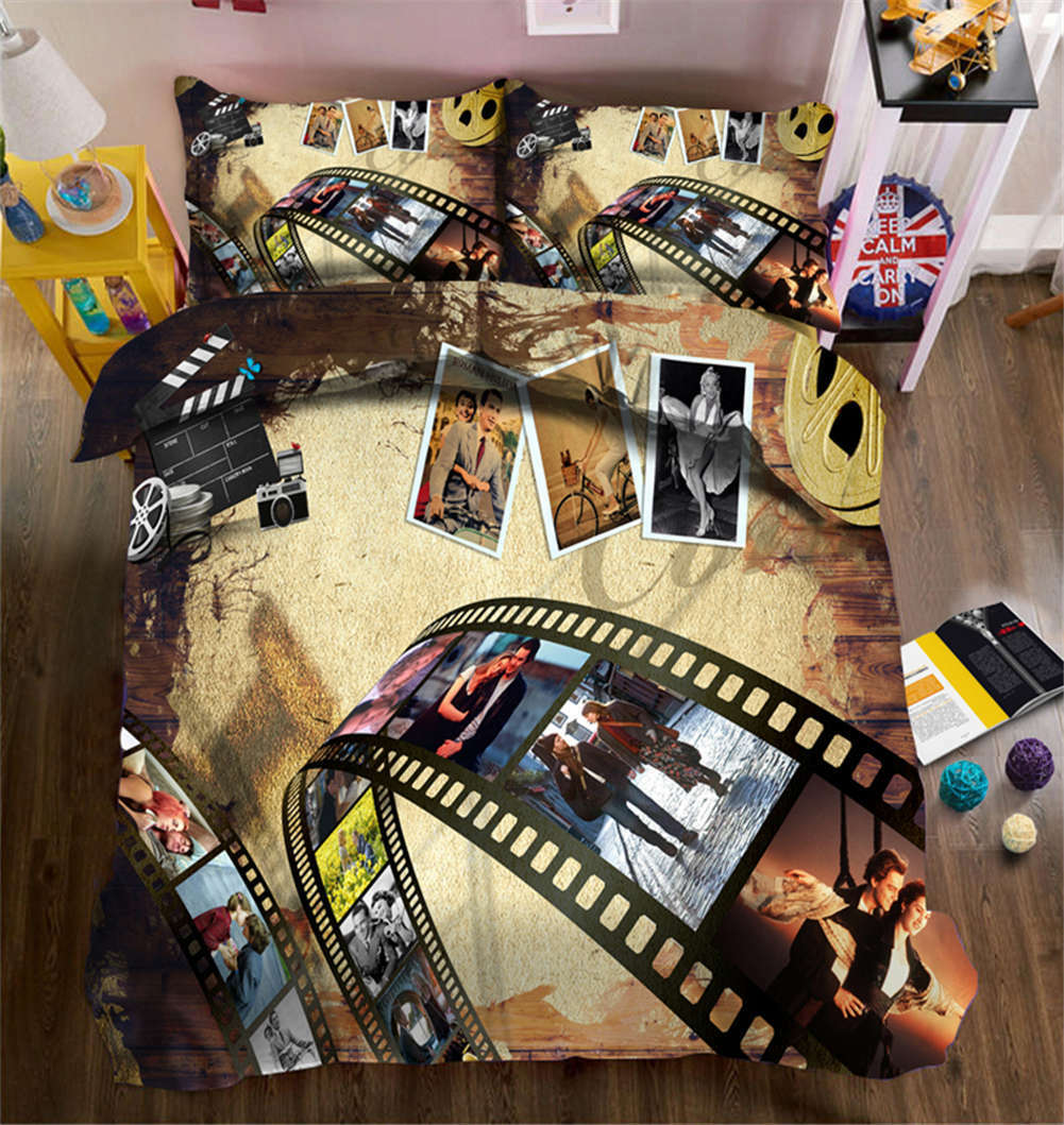 Scrolling Film 3D Printing Duvet Quilt Doona Covers Pillow Case Bedding Sets