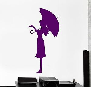 Wall Vinyl Decal Girl Romantic Rain Umbrella Bedroom Woman Decor Z3918