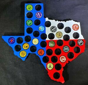 Texas-Beer-Cap-Map-Laser-Engraved-Bottle-Cap-Holder-Man-Cave-Texas-Flag-Art