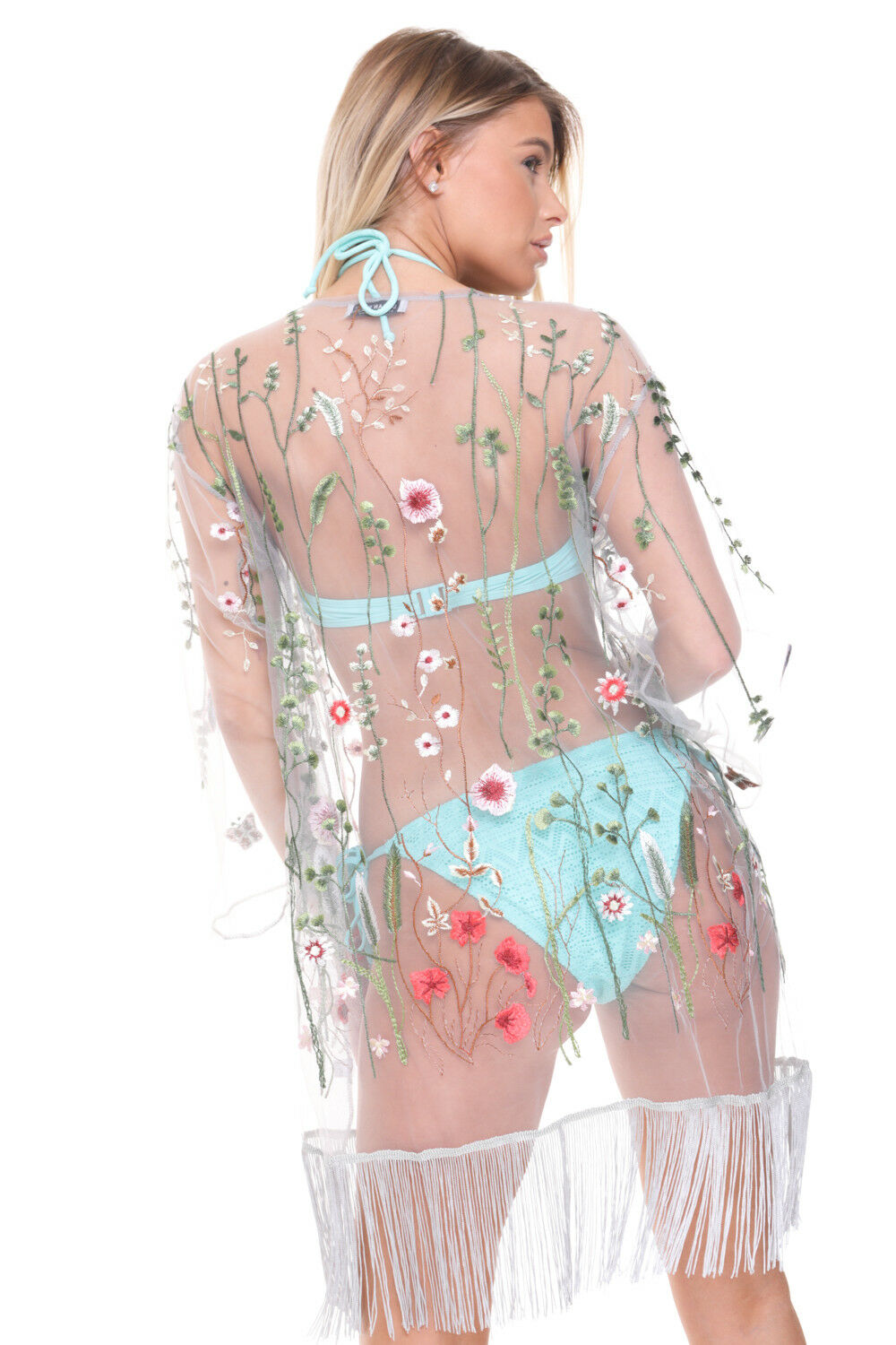 Womens Sheer Floral Embroidered Tassel Trim Beach Holiday Holiday Holiday Kimono Kaftan Cover Up 2c3695