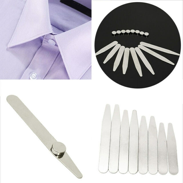 8 Polished Stainless Steel Metal Collar Stays + 8 Magnets for Men's Dress Shirts