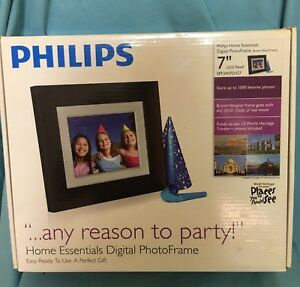 """PHILIPS 7"""" Home Essentials LCD Panel DIGITAL PHOTO FRAME Brown SPF3407D/G7 New"""