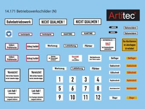 Artitec 14.171 Spur N NEU Betriebswerk Schilder