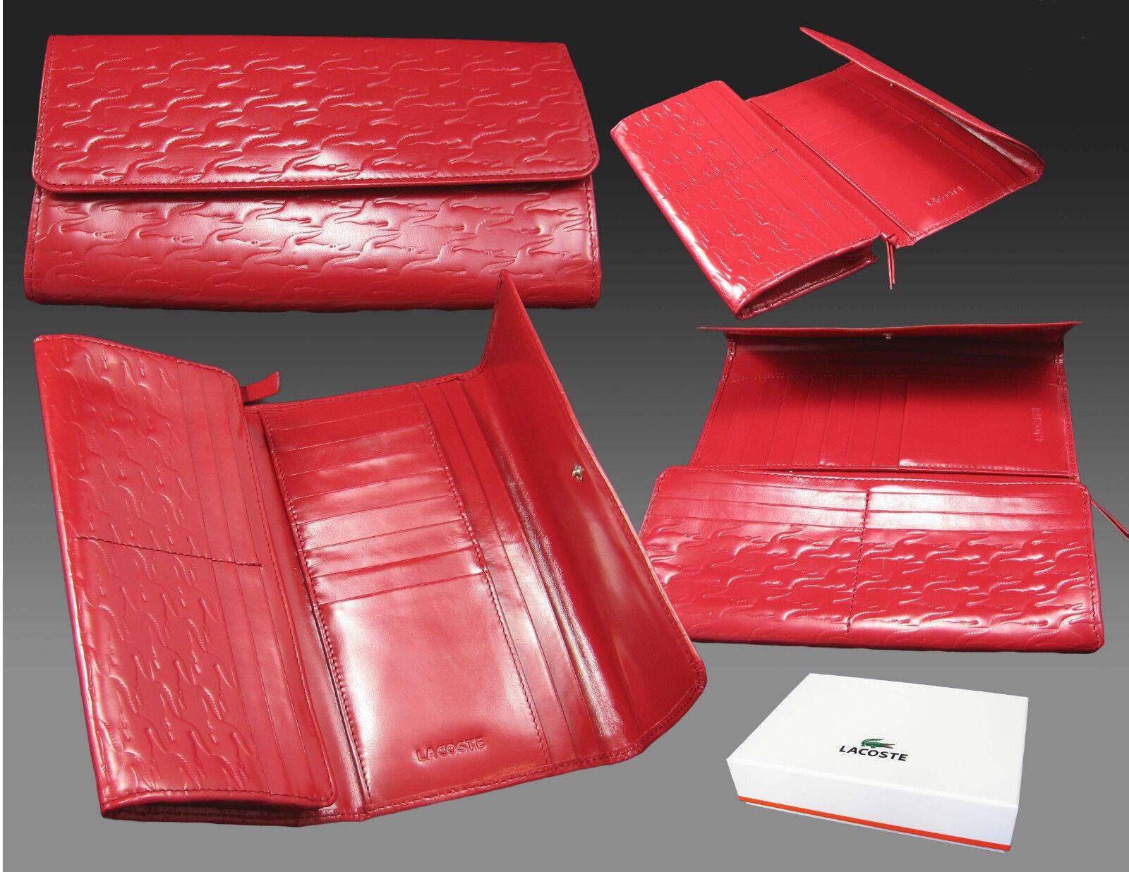 New Authentic Vintage LACOSTE Womens Leather PURSE WALLET Pied De Croc 3 Red