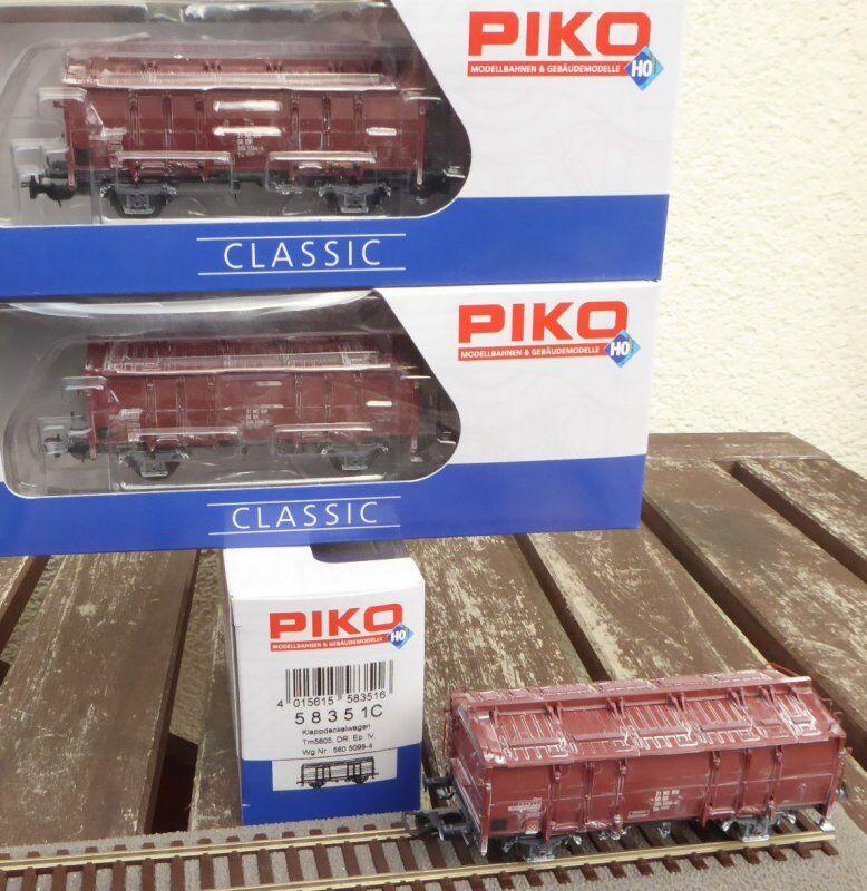 Piko 58351 h0 set 3 piezas de set plegable carro de tapa tm5605 Dr ep.4 con kalkspuren