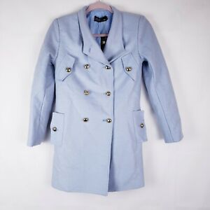 BB Fashion Womens Powder Blue Pea Coat Wool Size Small New Button Pockets Lined