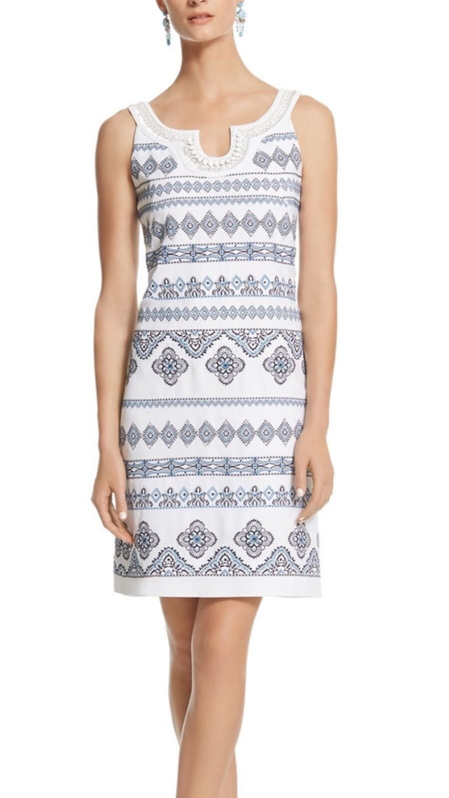 WHBM EMBROIDERED SHIFT DRESS SIZE 2 NEW SOPT R 280