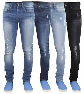 Mens-Ripped-Skinny-Jeans-Super-Stretch-Denim-Pants-Trousers-Waist-Sizes-28-40