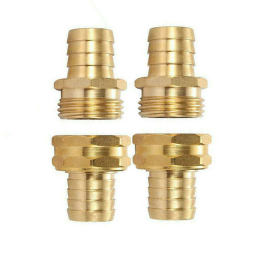 2 Set 3//4 Inch Brass Garden Hose Mender End Repair Male Female Connector Kit New