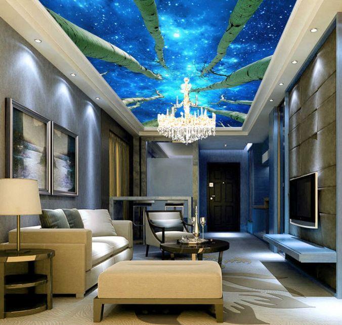 3D Trees and Universe Ceiling WallPaper Murals Wall Print Decal Deco AJWALLPAPER