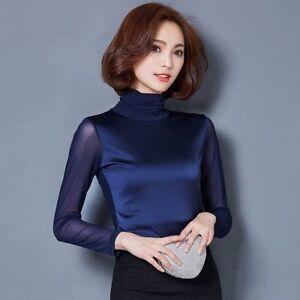 Women-Black-Mesh-T-shirt-Slim-Top-Splice-Turtle-Neck-Long-Sleeve-Pullover-Blouse