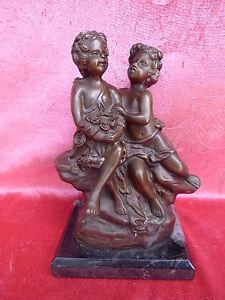 Bella, vecchio Statua Bronzo __ 2 Ragazzi __ Paio __Bronzo __Firmato