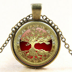 Gold-Tree-of-Life-Cabochon-Glass-Silve-Bronze-Necklace-for-Women-Men-Jewelry