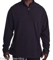 Club Room Men's 1/4 Zip Black Fleece Pull Over Sweater Sze Large