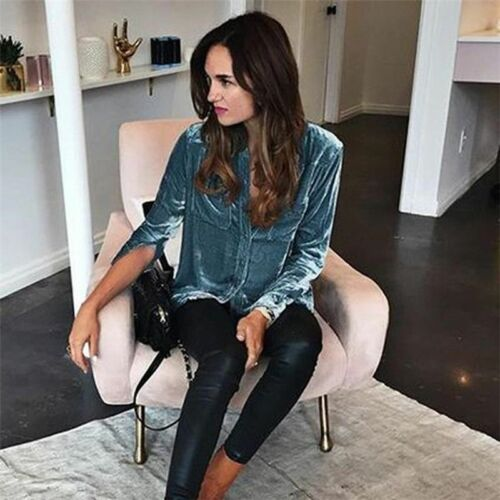 Women Autumn Spring Velvet Button-down Collar Work Shirt Long Sleeve Tops Blouse