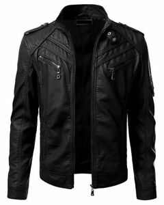 Men-039-s-Retro-Slim-Fit-Vintage-Biker-Moto-Black-Real-Leather-Jacket