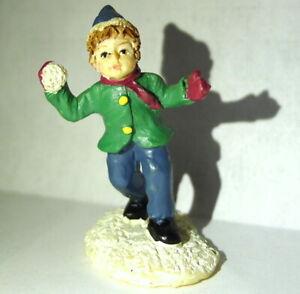 Victorian-Boy-Snowball-Toss-Grandeur-Noel-Christmas-Village-1999-Vintage