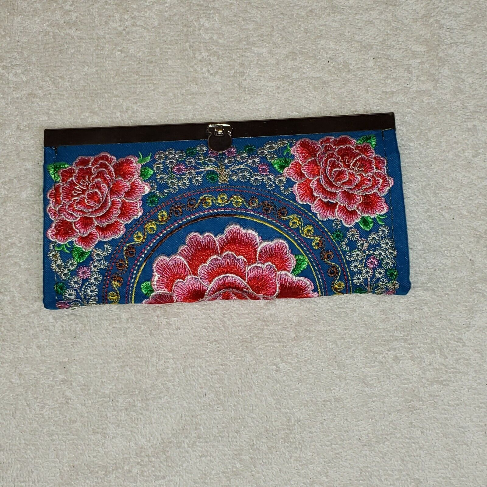 BOHO Embroidered Lotus Flower Clutch Wallet Purse