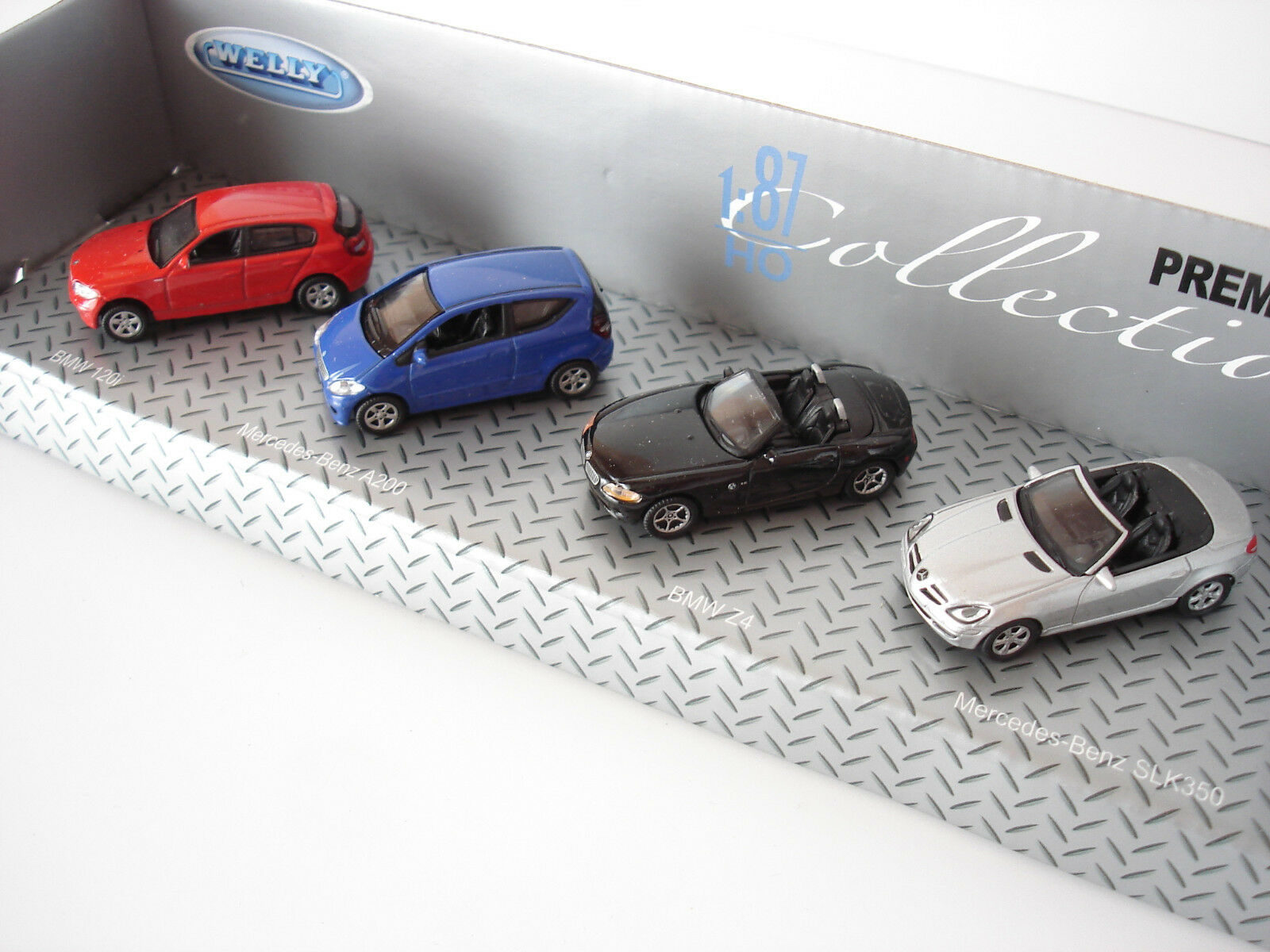 WELLY WELLY WELLY LOT 4 VOITURES MERCEDES / BMW COLLECTION PREMIUM - ECHELLE H0 1/87 4a4eac