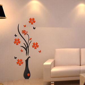 adesivi murali  ADESIVI MURALI VASO CON FIORI WALL STICKERS DECORAZIONE PARETE | eBay