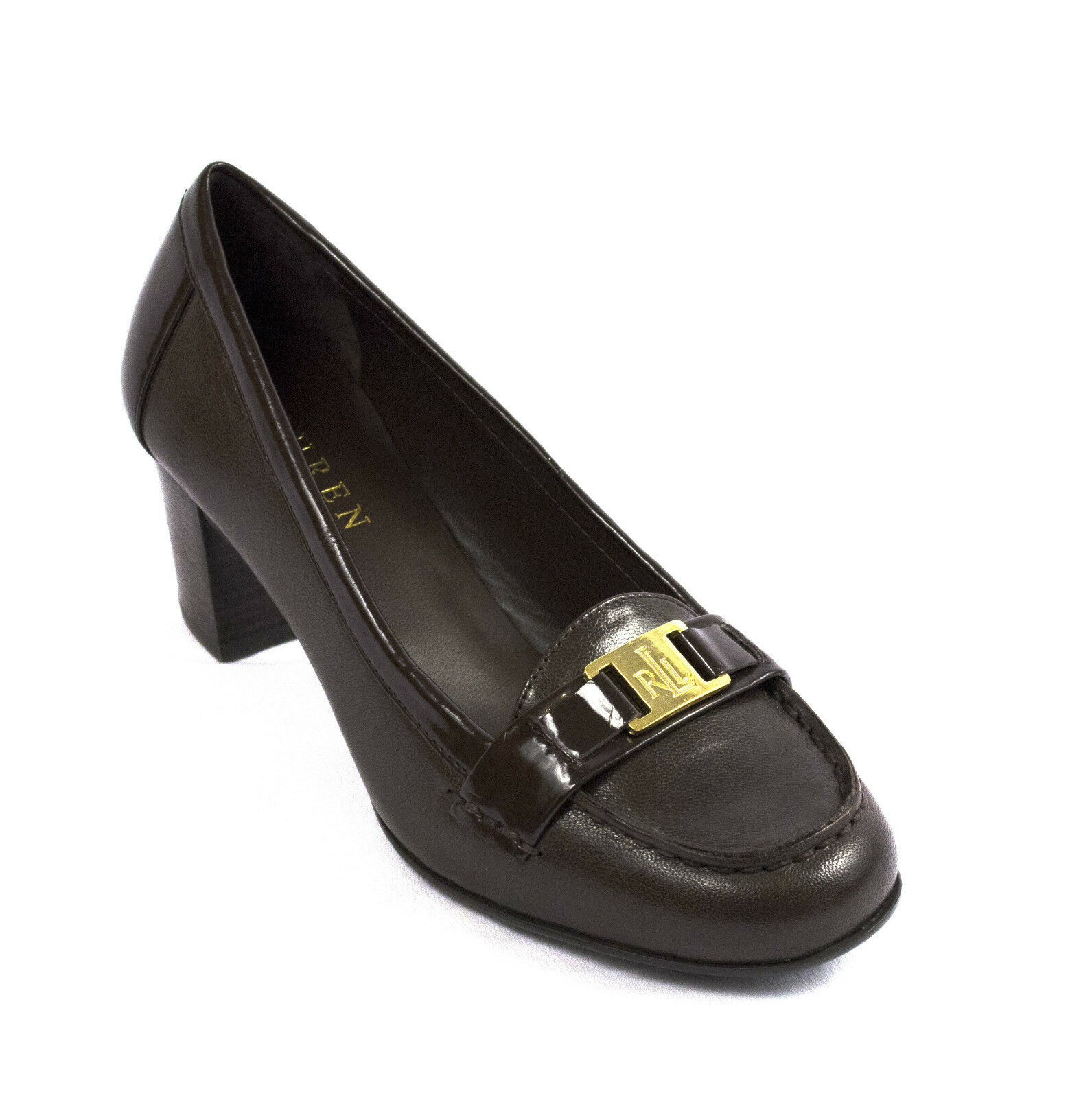 RALPH LAUREN TATUM DARK BROWN WOMENS LOGO SLIP ON SHOES MULTI SIZES