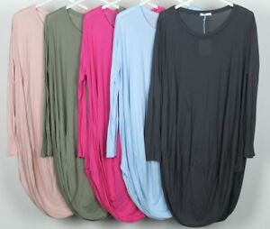 NEW-LADIES-SOFT-JERSEY-FABRIC-ITALIAN-LAGENLOOK-COMFY-CASUAL-COCOON-TUNIC-DRESS