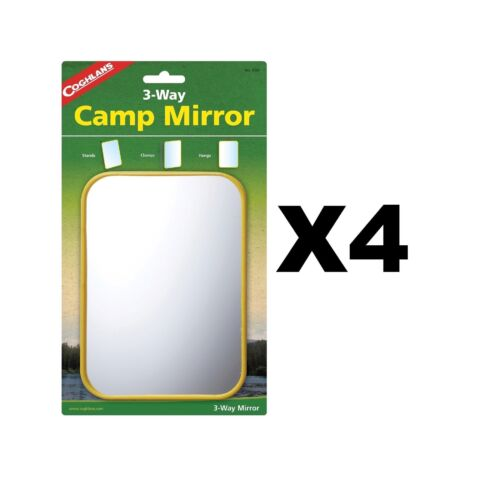 Coghlan/'s 3-Way Camp Mirror Sturdy Plastic Frame Stands Clamps Hangs 4-Pack