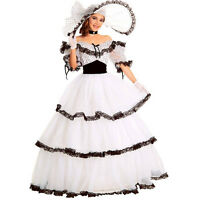 Southern Belle Costume Victorian Women Halloween Gown Ball Lolita Dot Dress +hat