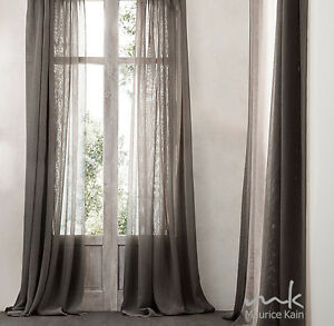 Image Is Loading Southport FAWN Linen Look Sheer Curtain CLEARANCE Fabric