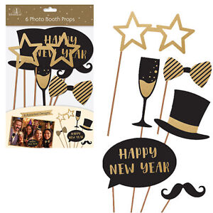 Pack Of 6 New Years Eve Party Fun Photo Booth Posing Props Selfie