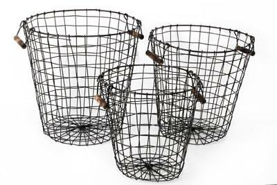 Vintage Round Black Metal Wire Multi Storage Toy Laundry Log Basket Wood Handles