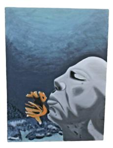 Huge Zen Male Portrait Blue Ocean Water Garden Painting Prayer Msg 4 Ship Quote