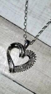 68b82de07 Image is loading Kay-Jewelers-Kays-Sterling-silver-diamond-heart-baguette-