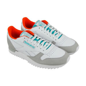 Details about Reebok Classic Ripple Clip Mens White Low Top Sneakers Shoes
