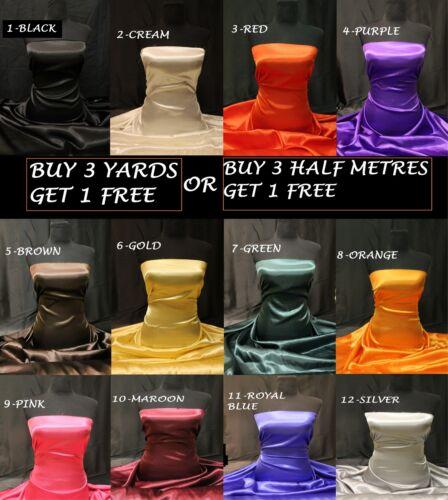 Polyester Satin Plain Shiny Silky Dress-making Craft Decoration Fabric 55/' Wide